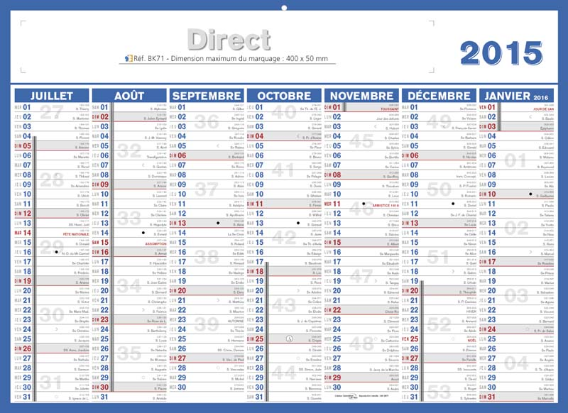 Calendrier 2015 semaine numerotees - Vacances scolaires 2015 16 ...