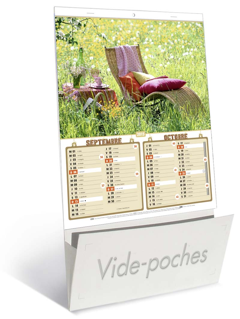 Calendriers publicitaires jardins vide poche for Vide jardin tremeoc 2015