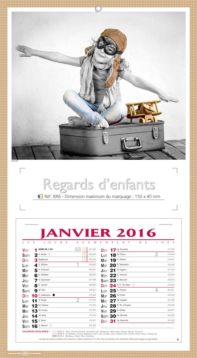 Mensuel Calendrier Publicitaire 2016 2017 - Enfants - Calendrier 2016 ...