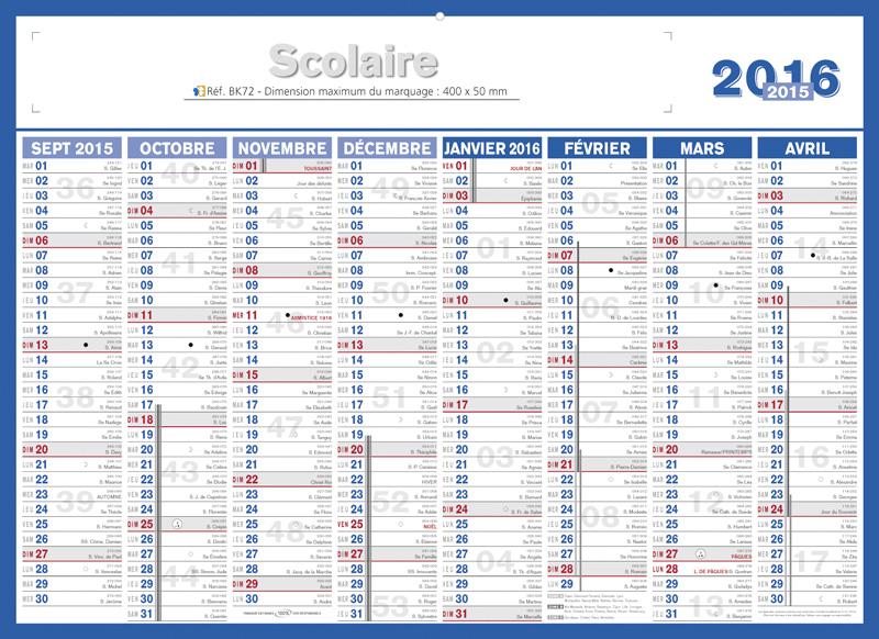 2016 calendrier par semaine