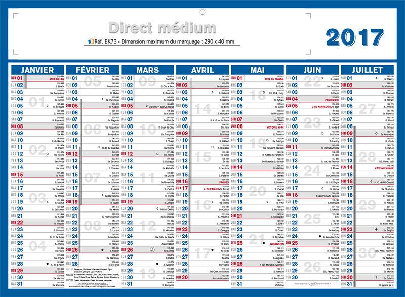 calendrier quantieme 2017
