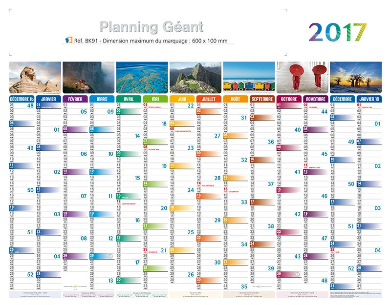 Calendrier publicitaire planning 2018 maxi planning - Grand calendrier mural ...