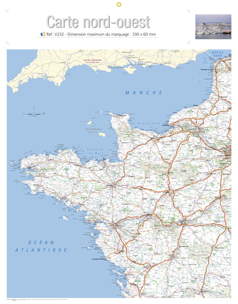 france nord ouest carte - Image