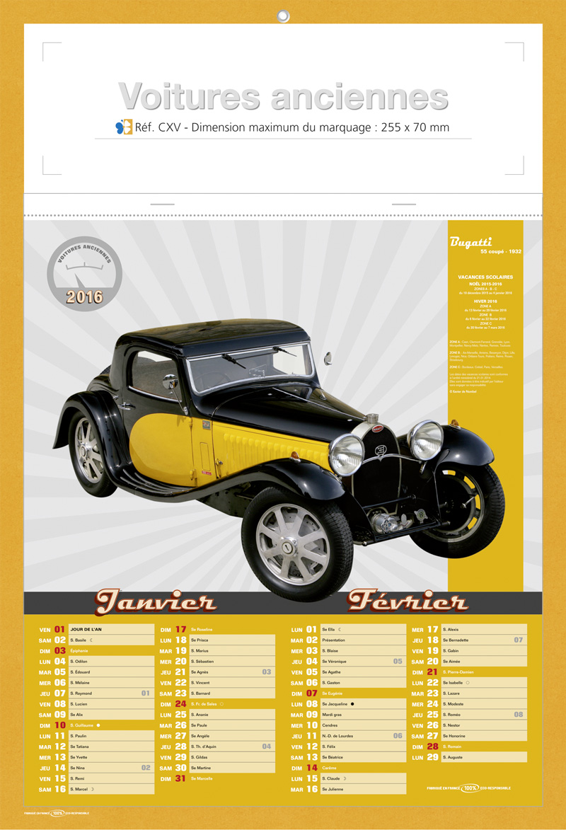 Favorit calendriers publicitaire voitures anciennes LJ22