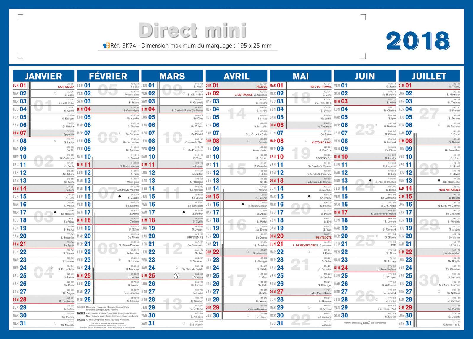 Calendrier 2018 a imprimer quantieme - Calendrier lune montant et descendante 2017 ...
