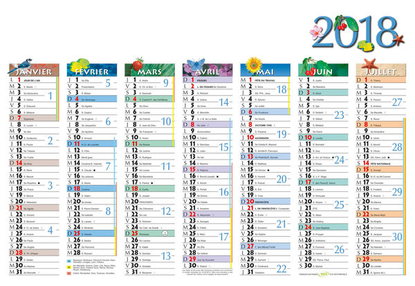 Calendrier petit format, Mini Marque-Page
