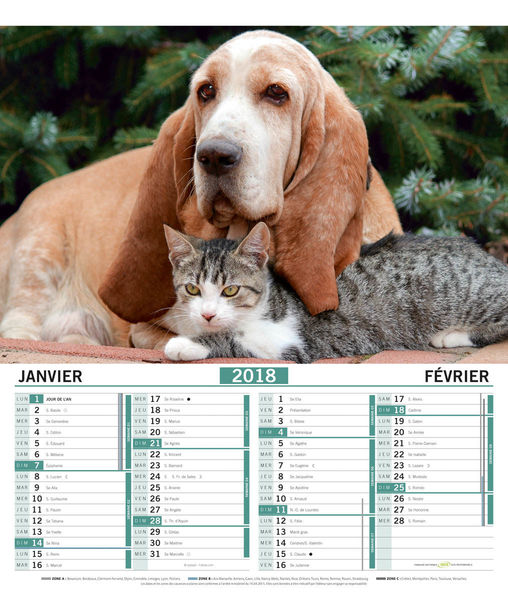 Calendriers publicitaires vide poches chats chiens, Chats et Chiens