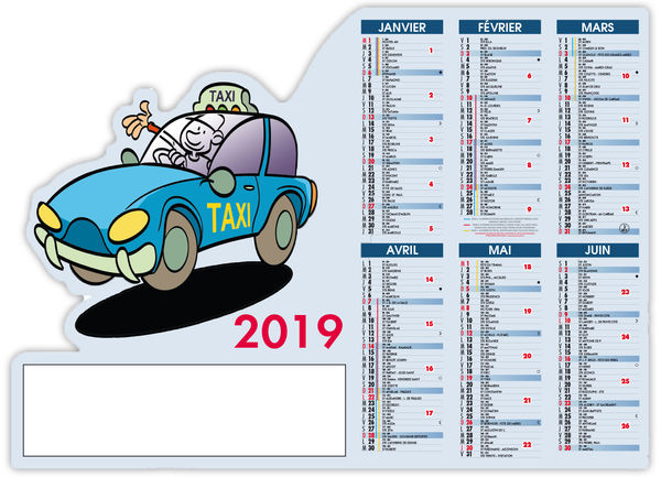 Calendrier Aimant : Taxi - 210 x 150 cm