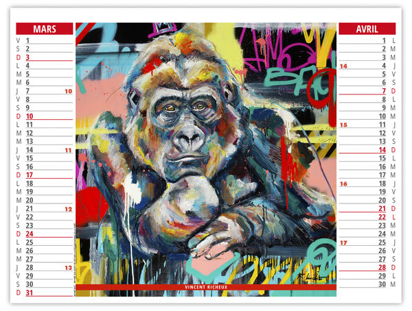 Calendrier Publicitaire Illustré : Animaux Pop Art  330 x 470