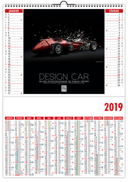 Calendrier Publicitaire Illustré : Design Car 330 x 470