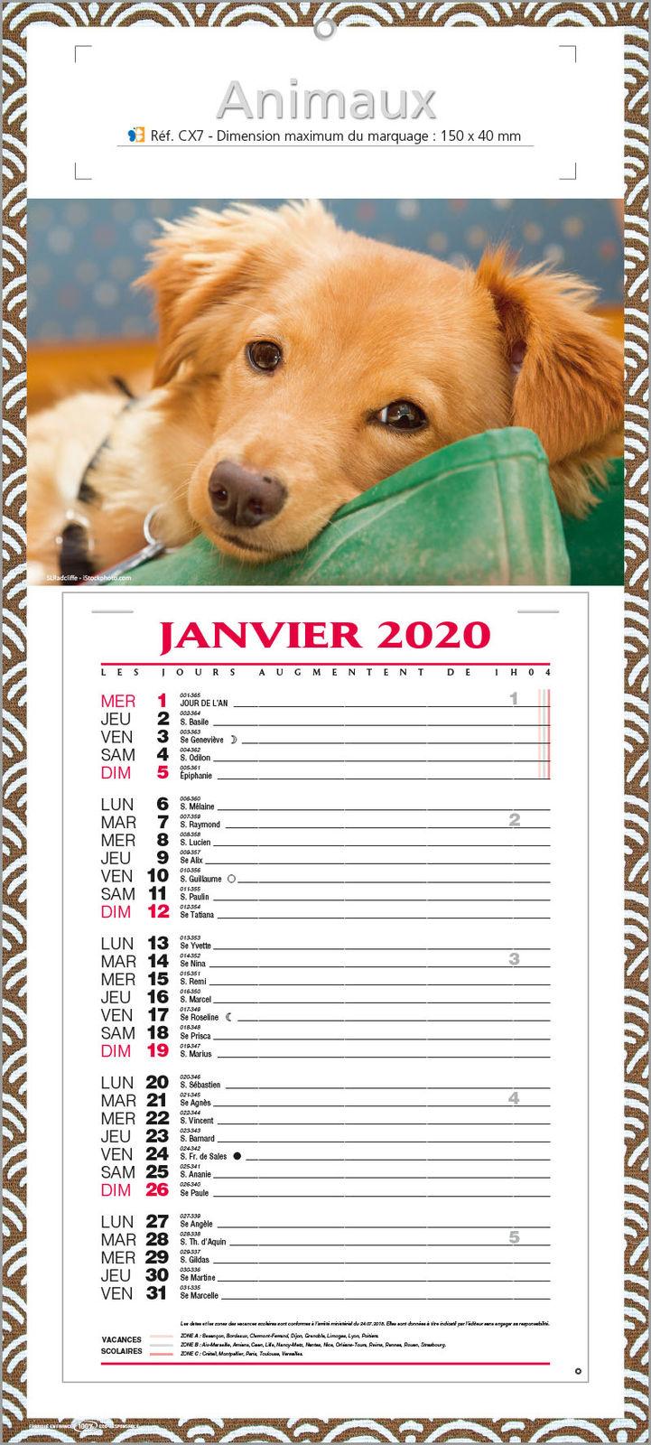 Calendrier 2020 Animaux.Calendrier Publicitaire Bloc Animaux