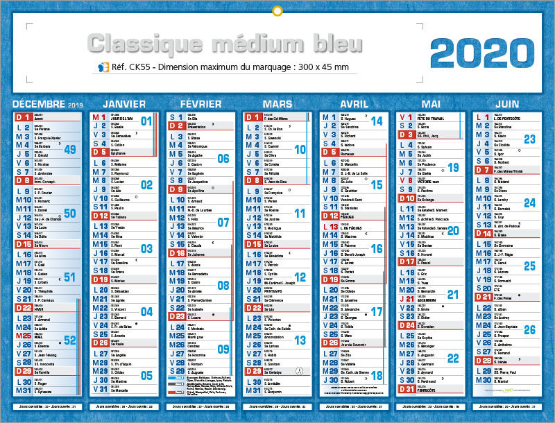 Semaines Calendrier 2020.Calendrier Publicitaires