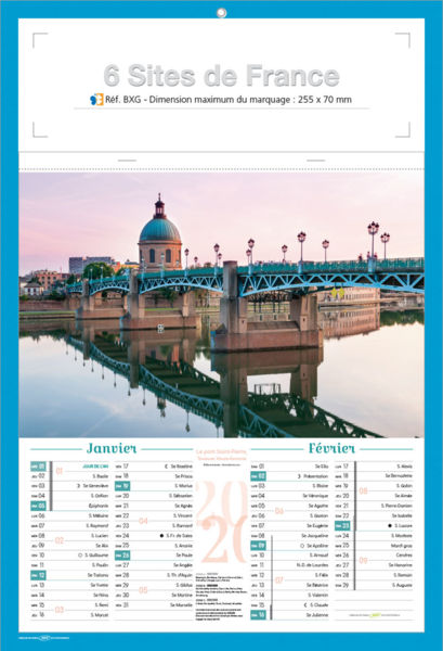 Bloc calendrier publicitaire, Sites de France