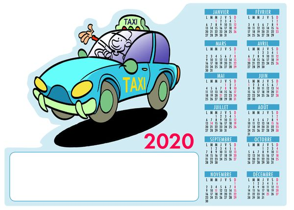 Calendrier magnet personnalisable - Taxi - 210x105mm
