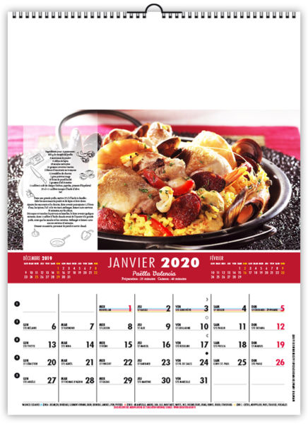 Calendrier mural personnalisable - Recettes