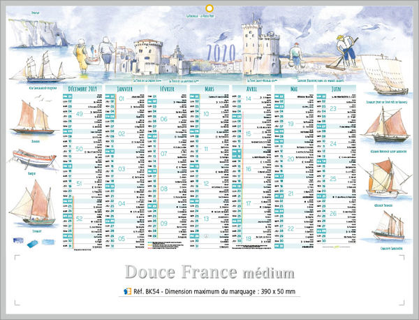 Calendrier publicitaire à personnaliser France , Medium Paysage France