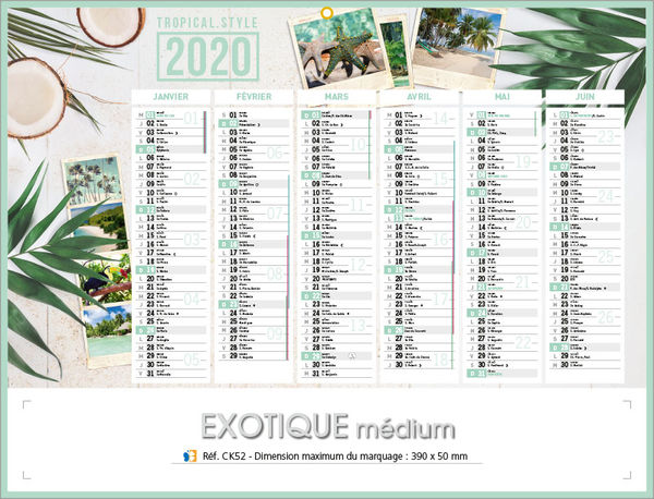 Calendrier publicitaire nature, Medium Exotique