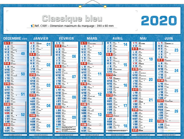 Calendrier 2020 Semaine Numerotees.Calendriers Publicitaires