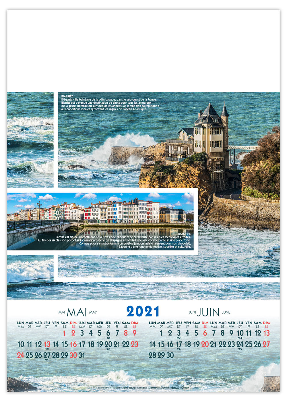 Calendrier Illustré | Paysages de France XXL | 300 x 420 cm