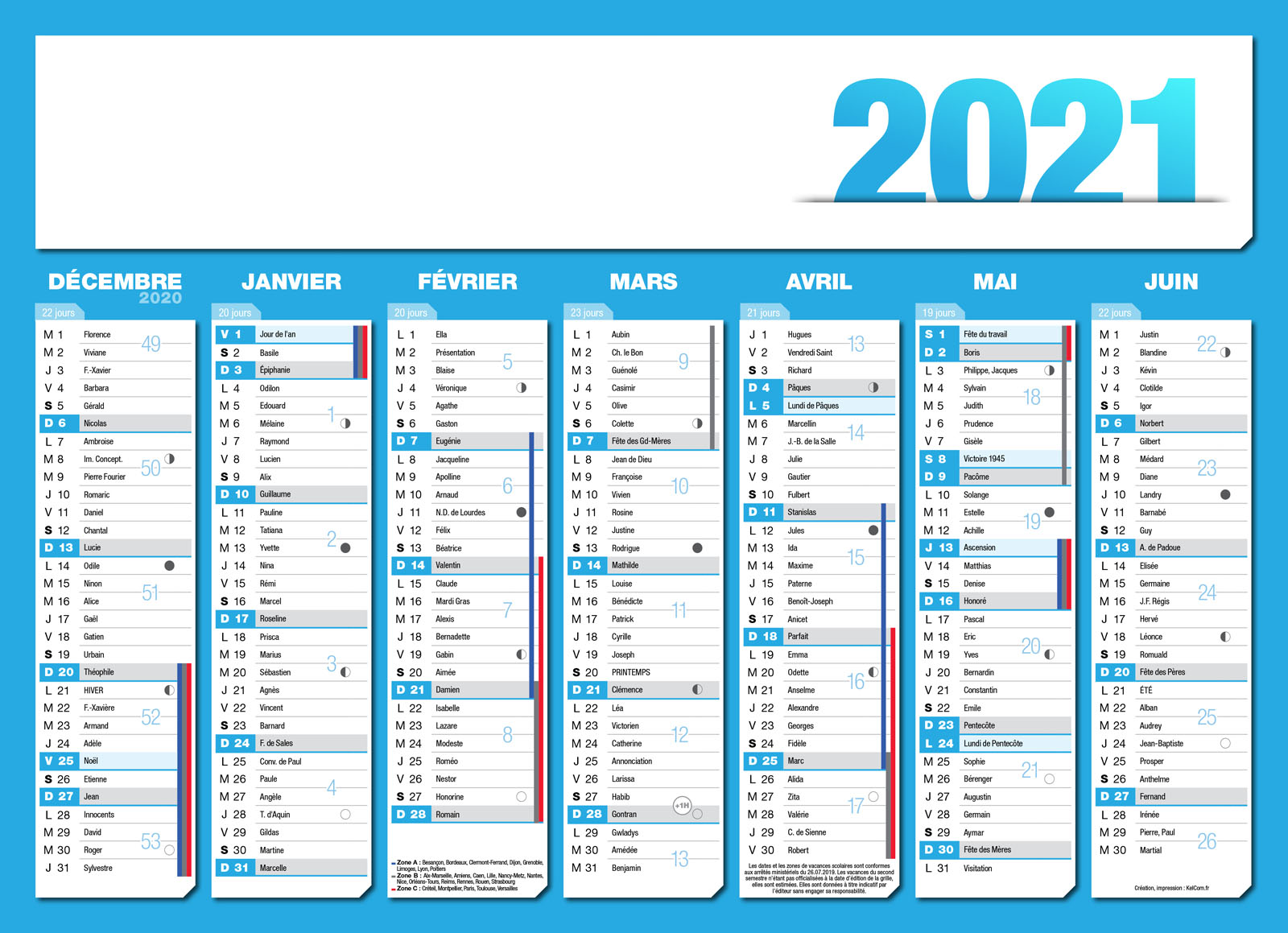 Calendrier 2021 A5 calendriers publicitaire personnalisé