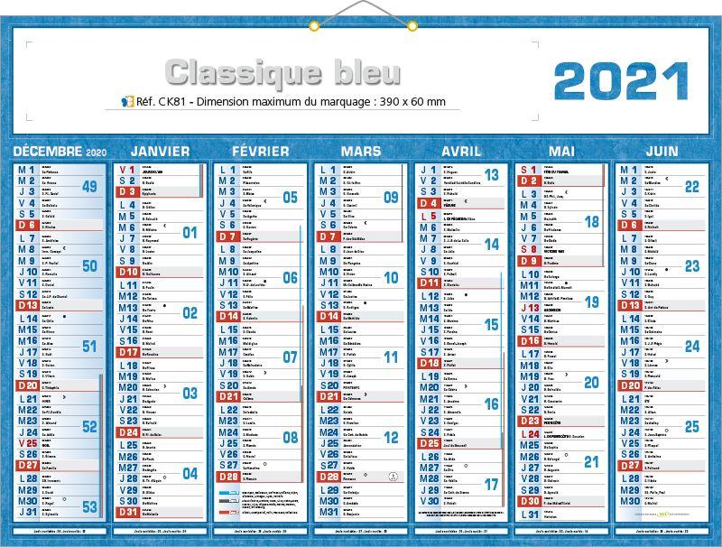 Calendrier 2021 Semaines Numérotées calendriers publicitaires