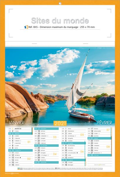 Bloc calendrier publicitaire illustré, Sites du Monde