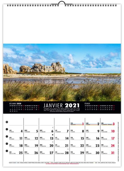 Calendrier bancaire personnalisable - Mural France - 240 x 330