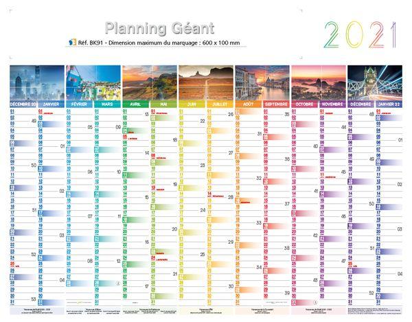 Calendrier Effaçable | Planning géant | 1295 x 580 cm
