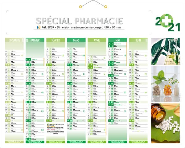 calendrier publicitaire pharmacie, Pharmacie