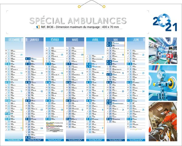 calendrier publicitaire ambulancier, Ambulances