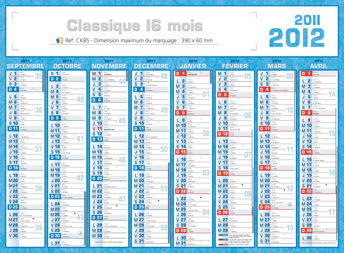 Calendrier Entreprise 2012 2017 - Classique 16 Mois - Calendrier 2012 ...